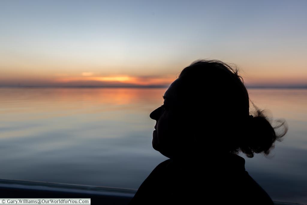 Enjoying the sunset, Sundowner cruise, Rhino Safari Camp, Lake Kariba, Zimbabwe