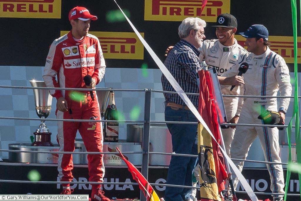 Lewis Hamilton, Phillipe Massa, Sebastien Vettel, George Lucas, Monza, F1, Formula, One, Grand, Prix, Italy