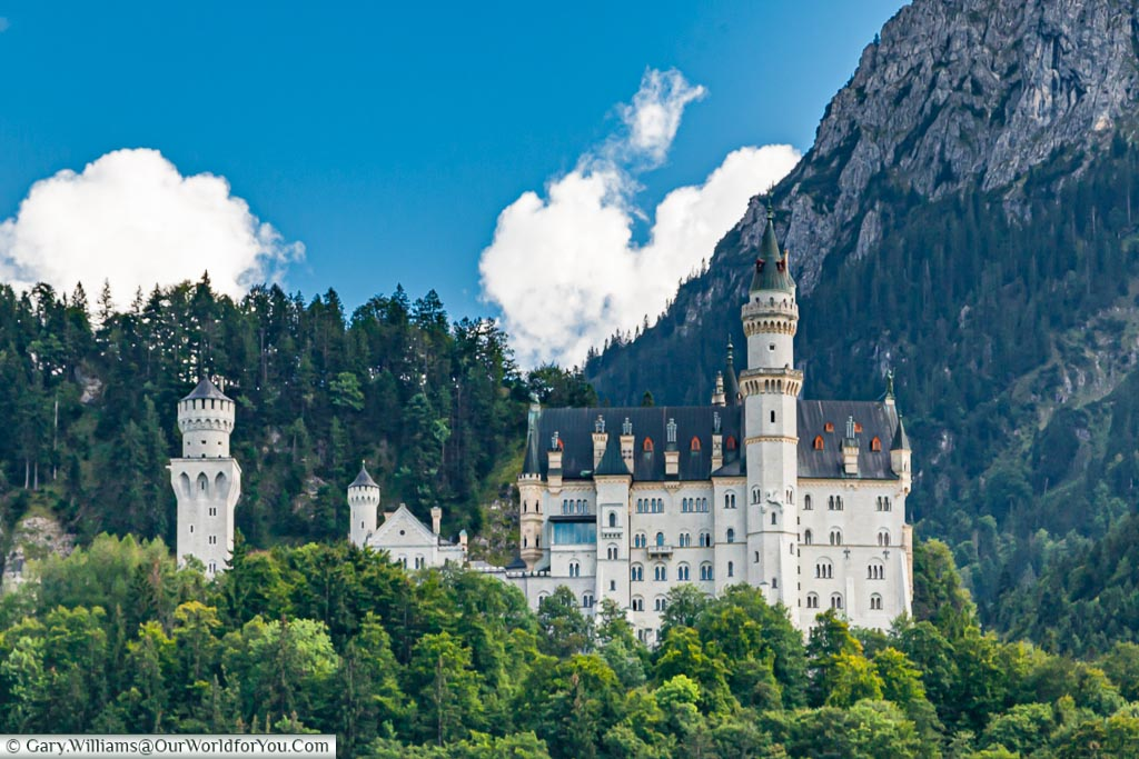 Schloss Neuschwanstein from the side., close-up,,Hohenschwangau, Bavaria, Germany
