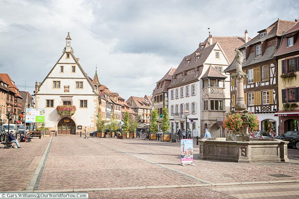 St Odiles Fountain in the Place du Marche in Obernai, Alsace, France