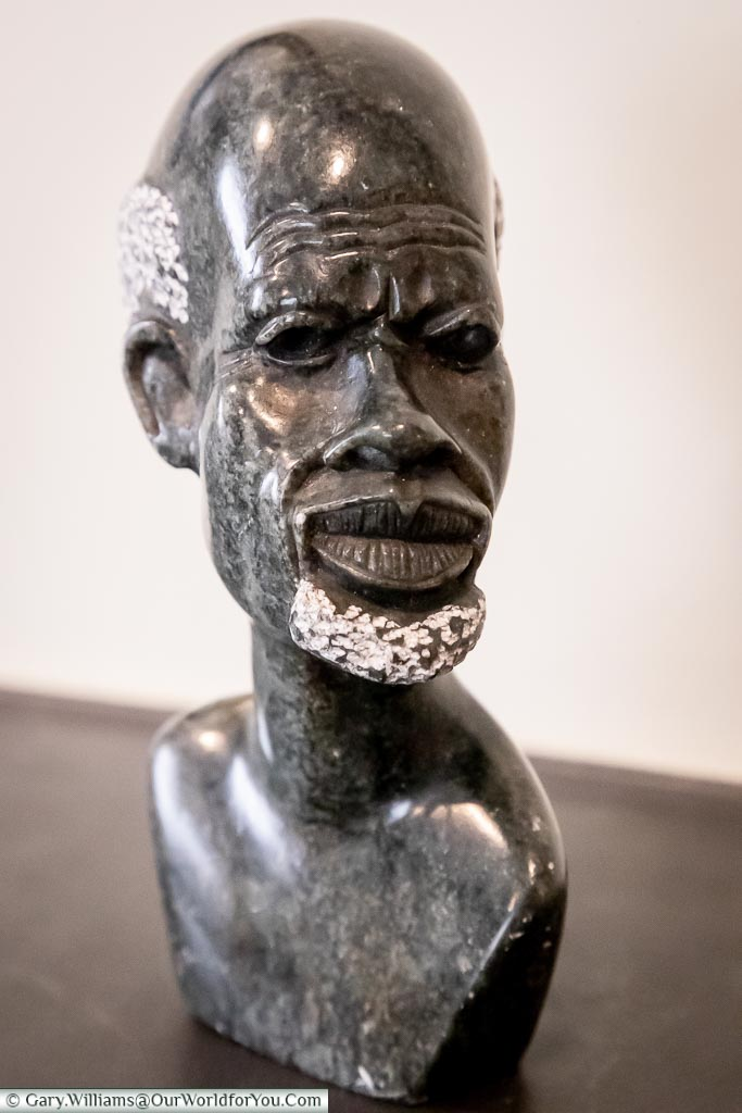 Stone bust momento from Zimbabwe, Africa