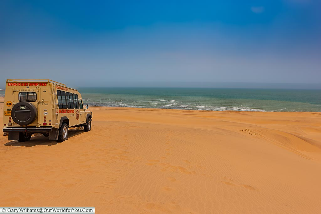 The Land Rover and the view, Living Desert Adventures, Walvis Bay, Swakopmund, Namibia