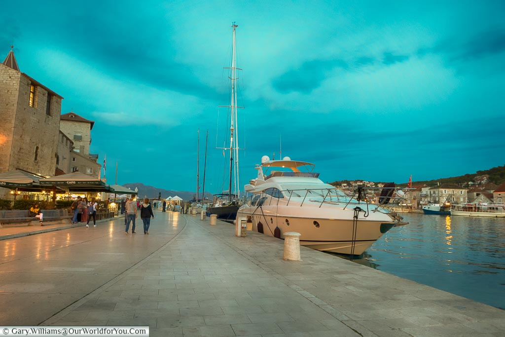 The Riva at dusk, Trogir, Croatia