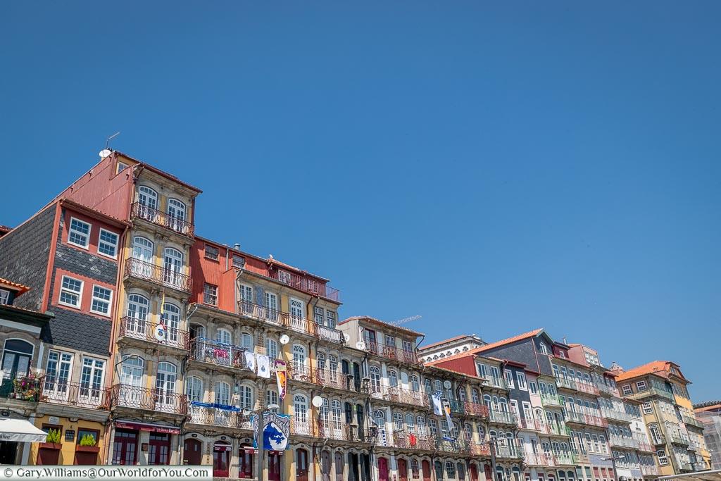 The balconies along the Ribeira, Porto, Portugal