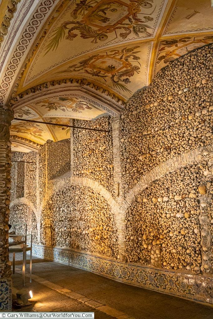 The view inside the chapel of bones, Évora, UNESCO, Portugal