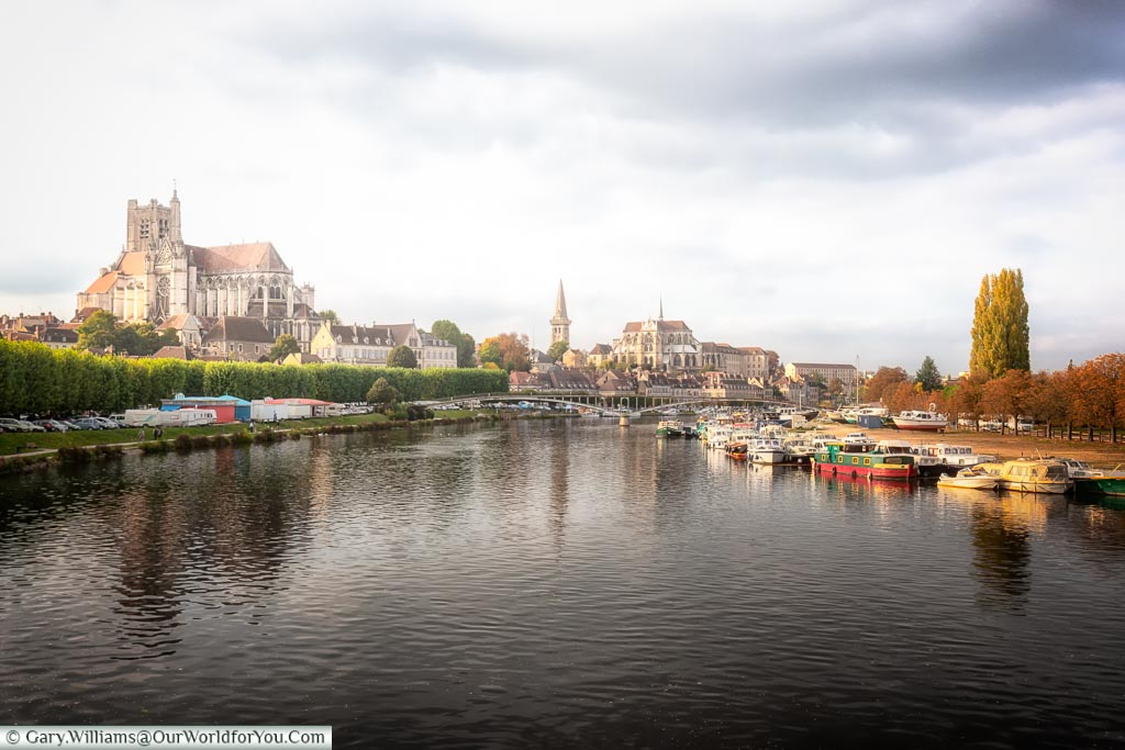 The view of Auxerre on the banks of Yonne, France