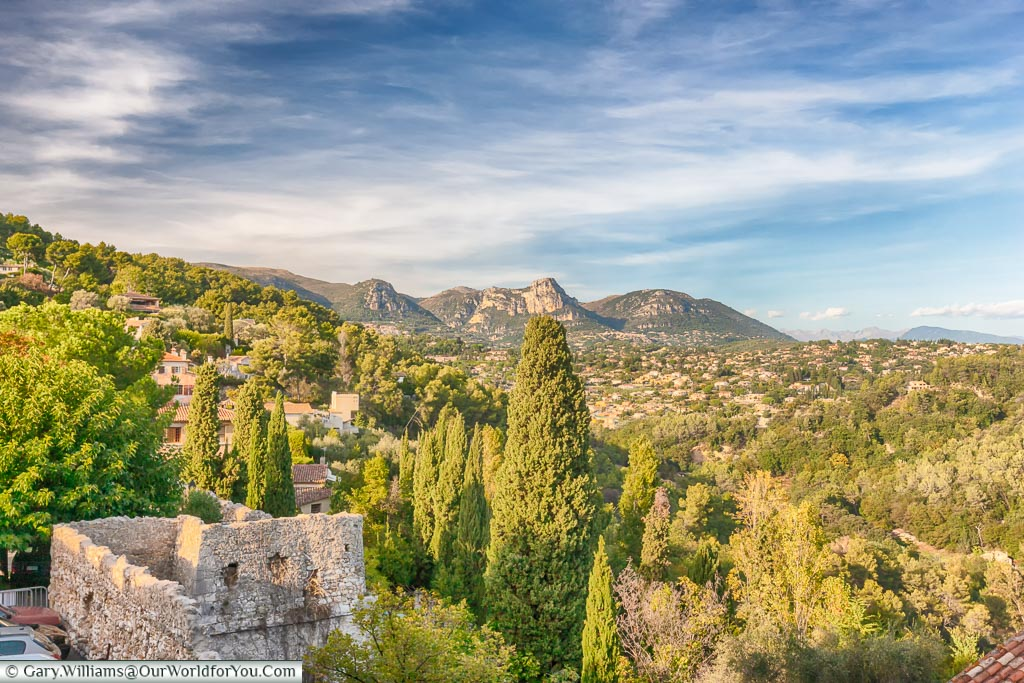 The view out over St Paul de Vence, France