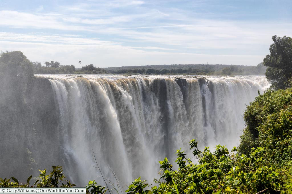 Water flowing over Victoria Falls, Zimbabwe, Africa