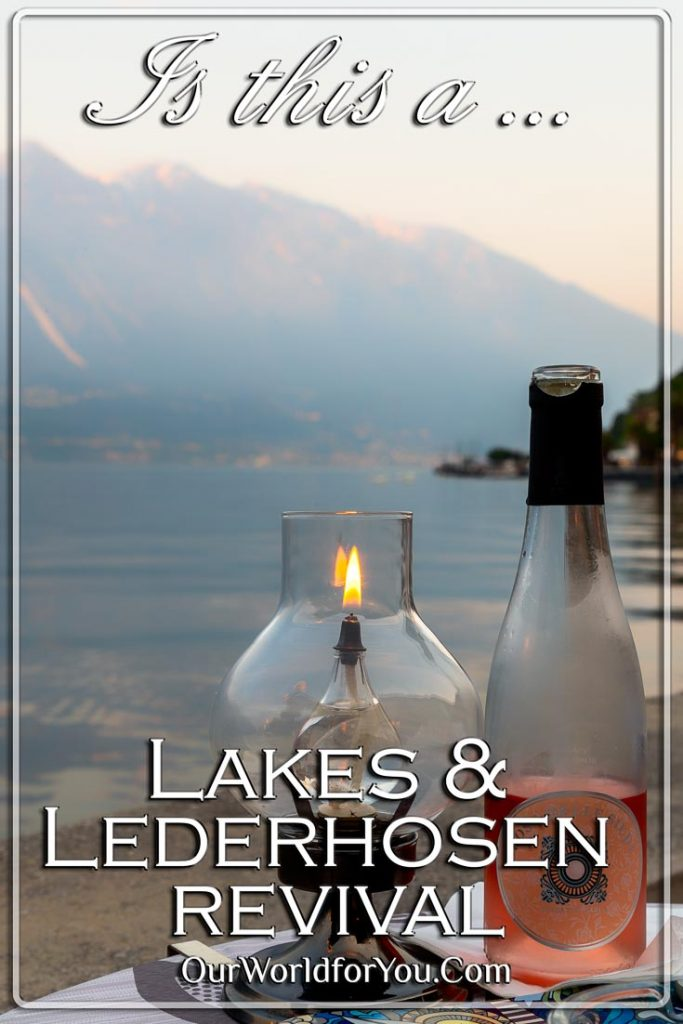 A Pin images of a bottle of Rosé and a lamp next the water's edge of Lake Garda