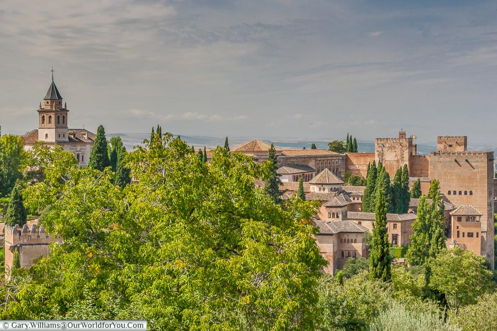 Looking over the gardens of the Alhambra in Granada.