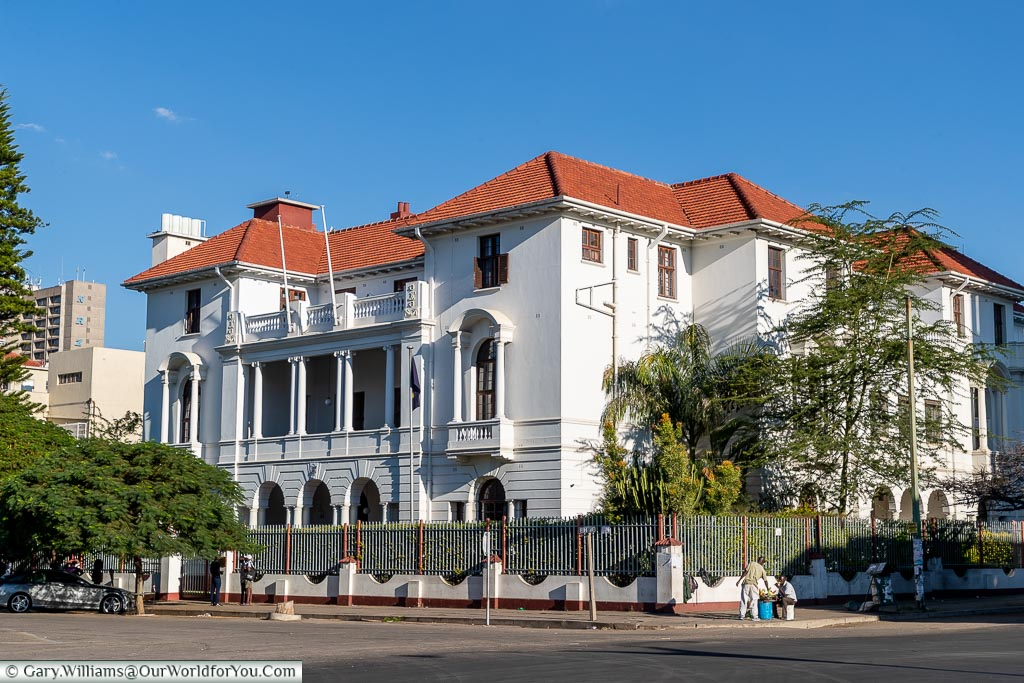 The outside of the Bulawayo Club from the opposite street corner.