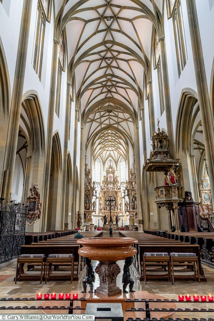 A view down the aisle towards the nave of the St. Ulrich's and St Afra's Abbey.