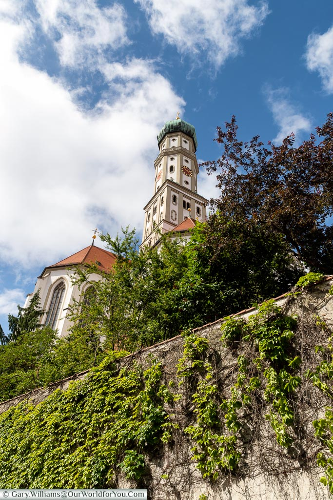 Looking up and the onion-domed bell tower of St. Ulrich's and St Afra's Abbey.