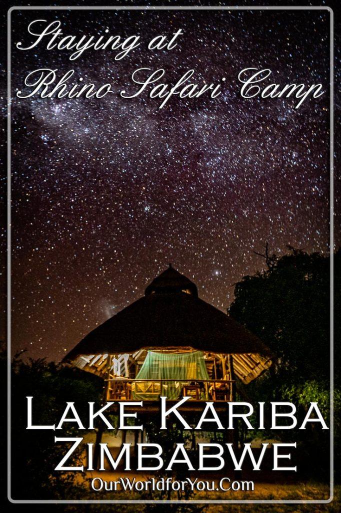 The pin image for our post 'Staying at Rhino Safari Camp, Lake Kariba, Zimbabwe'