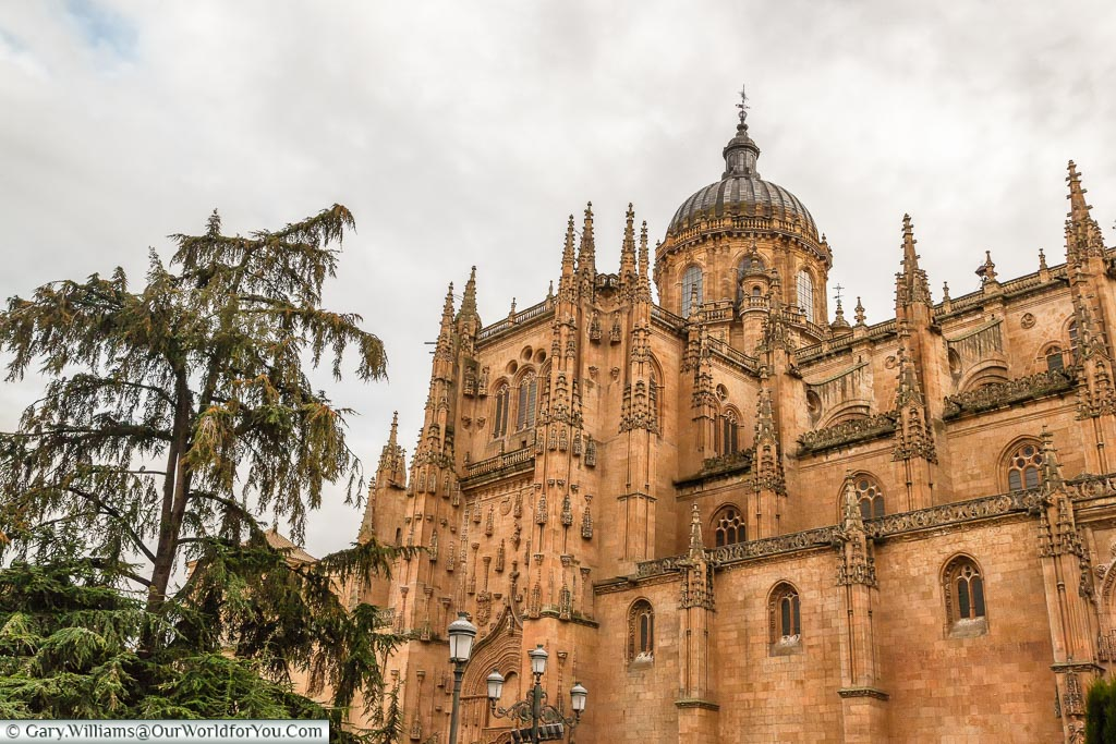 The old cathedral on a cloudy day in Salamanca.