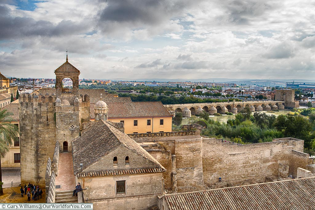 The view from the Alcáza over the old Roman Bridge of Cordoba.
