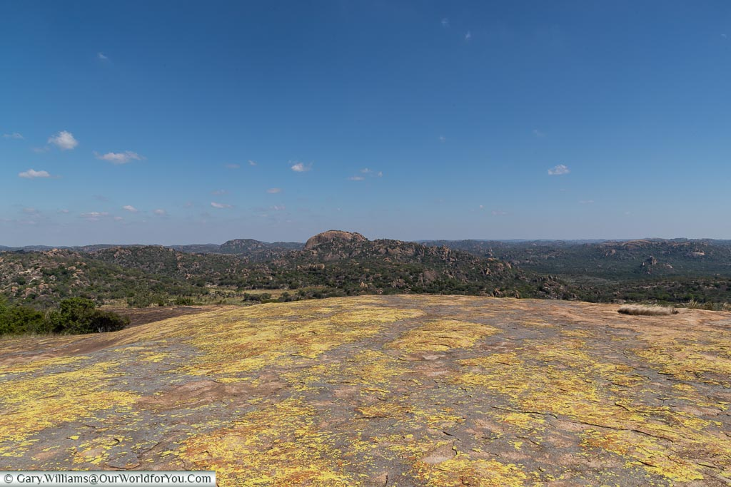 An uninterrupted view across Matobo National Park from up on high.