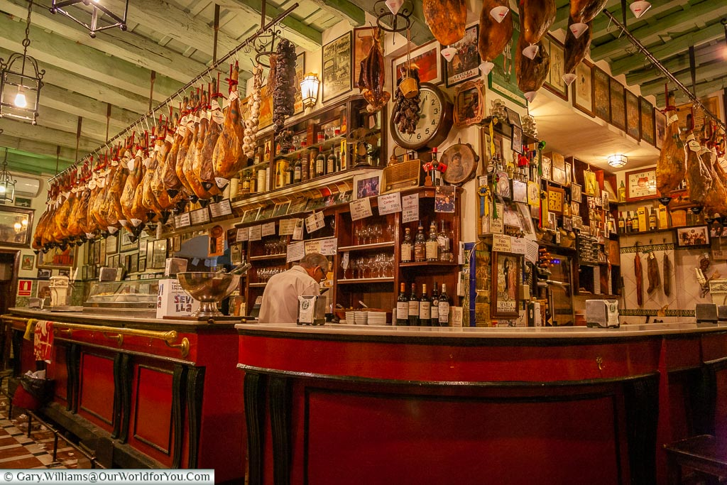 A mature bartender stands behind a traditional marble-topped counter in a bar in the Barrio Santa Cruz area of Seville.  Legs of Iberico ham hang from the ceiling rafters.