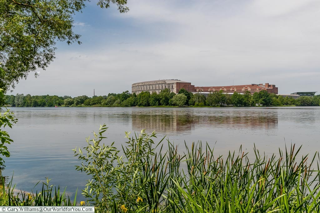 A view from the path around Dutzendteich Lake in front of the Nazi Party Congress Hall.