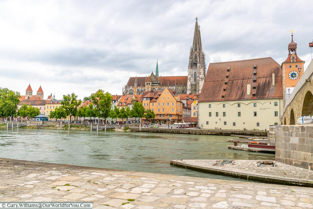 Looking towards the Regensburg Cathedral from the base of the old bridge.