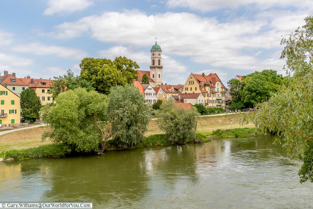 A picture-postcard view across the Danube to St Mang Church in Stadtamhof.