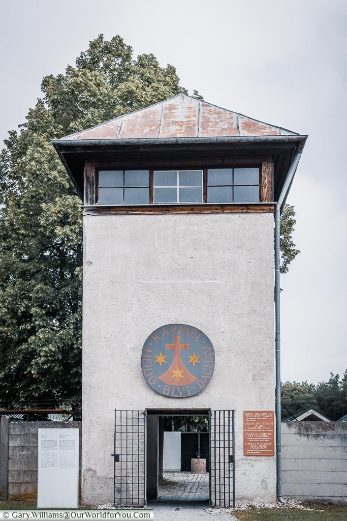 The entrance to the Carmelite Convent through the access gate at the based of one of the lookout towers of the camp.
