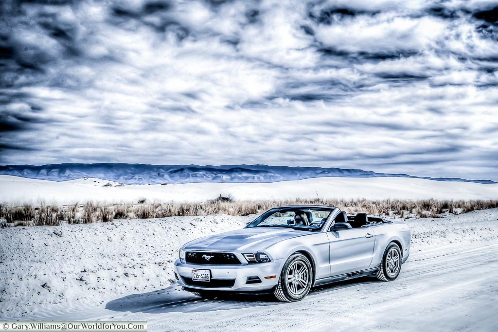 Our Ford Mustang convertable at the White Sands National Monument