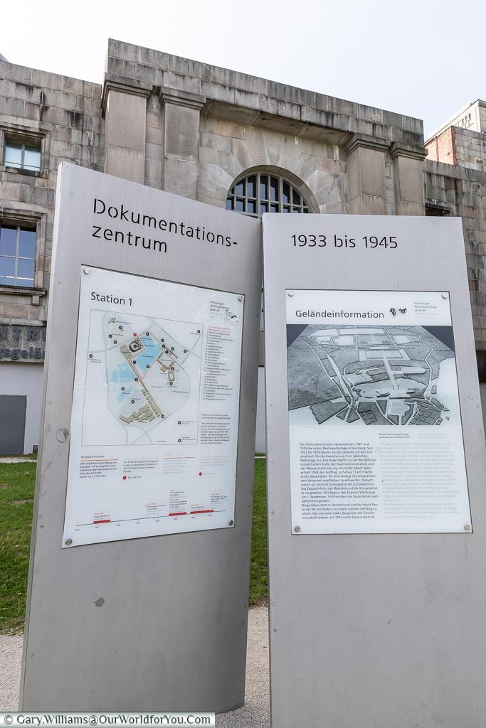 Two signs outside the congress building, indicating the layout of the centre now & how it was in the Nazi-Era of 19933-1945.