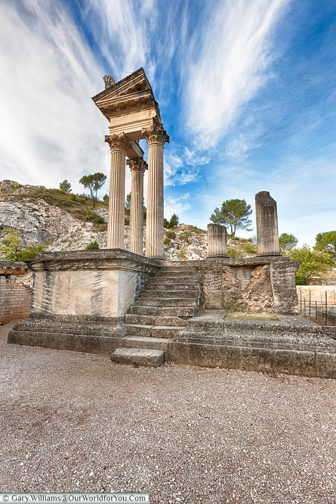 The ruins of the Roman temple within the complex of Glanum, just outside the town of Saint-Rémy-de-Provence.