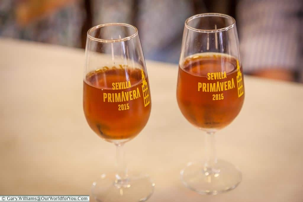 A couple of  glasses of chestnut coloured Olorosso sherry in our bar in the Barrio Santa Cruz area of Seville,