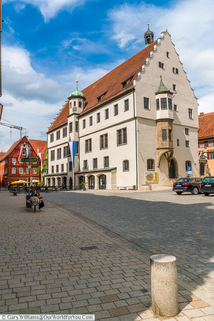 The town's 13th Century Rathaus or Town Hall standing along in the centre of town.