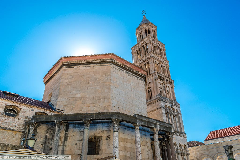 The sun bursting over the dome of the 4th century Roman Cathedral of Saint Domnius in Split.