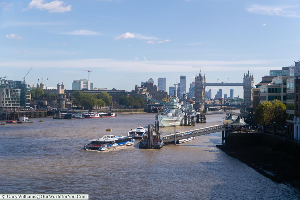 The view from the Bustronome as we crossed London Bridge, looking east along the Thames towards Tower Bridge & HMS Belfast