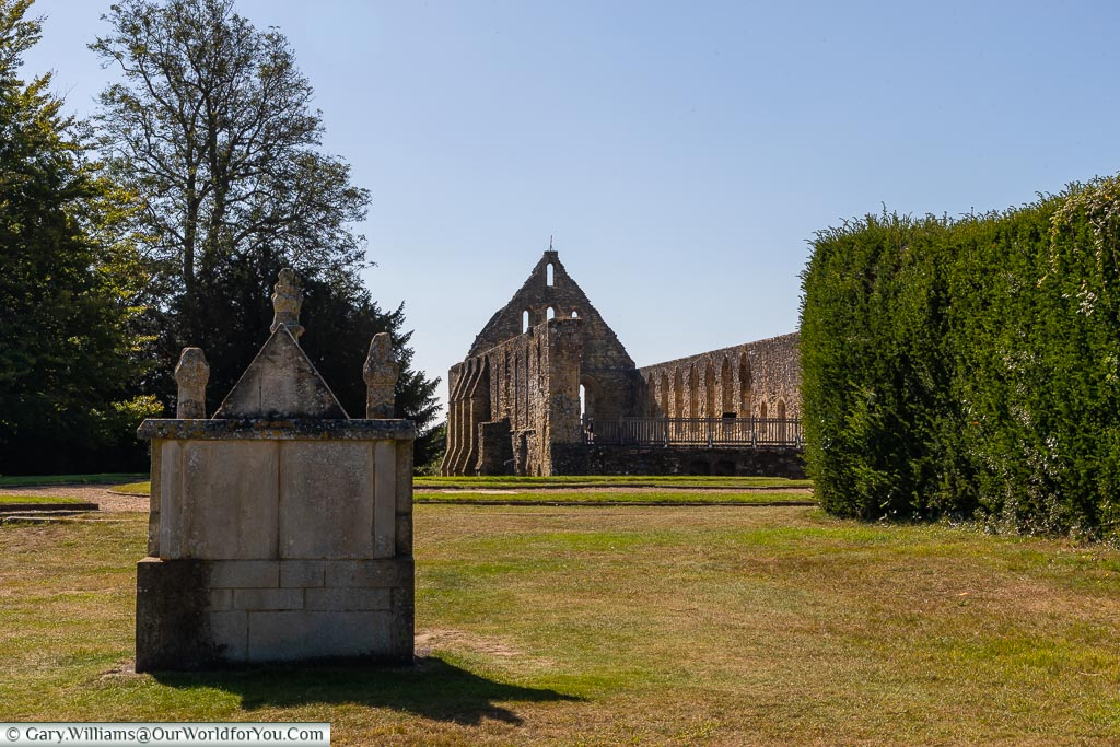 A view of the remains of the Abbey dormitory in the distance.