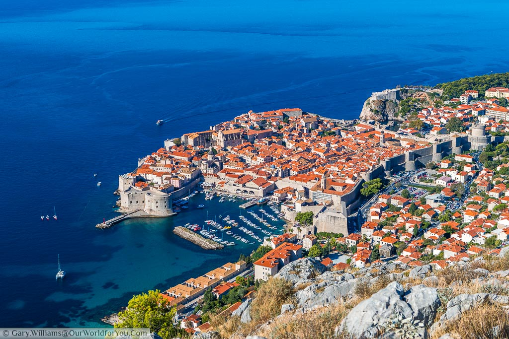 Looking down from the iconic viewpoint overlooking the historic walled city of Dubrovnik, and its crystal clear deep blue waters.