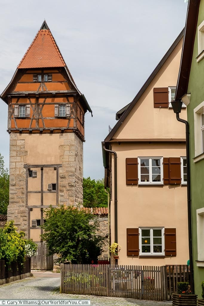 The Hagelsturm tower with a stone base topped with a half-timbered upper watch house.