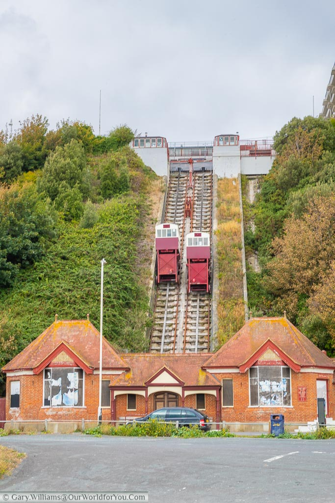 The Leas Lift, a victorian ventricular railway that carried visitors from the Leas high above the beach down to see level.  The entrance at the base is now boarded up while they try to raise funds to bring the lift up to modern standards.