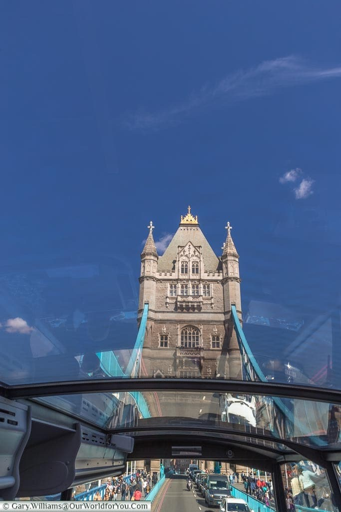 The view of Tower Bridge as we crossed over it, looking through the glass roof to the southernmost bridge tower.