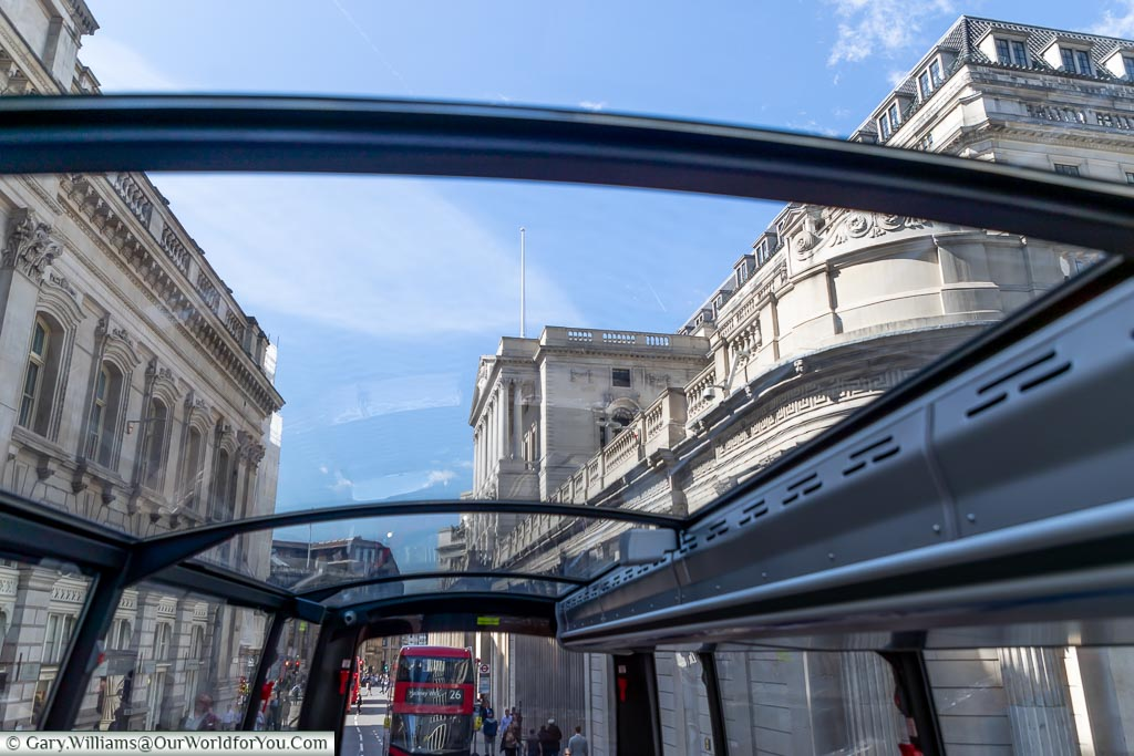 Looking through the roof of Bustronome to the Bank of England as we travel slowly through the roads of the City of London
