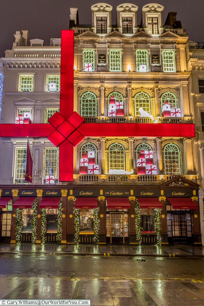 The Cartier store in London's New Bond Street decorated as a brightly lit gift box.