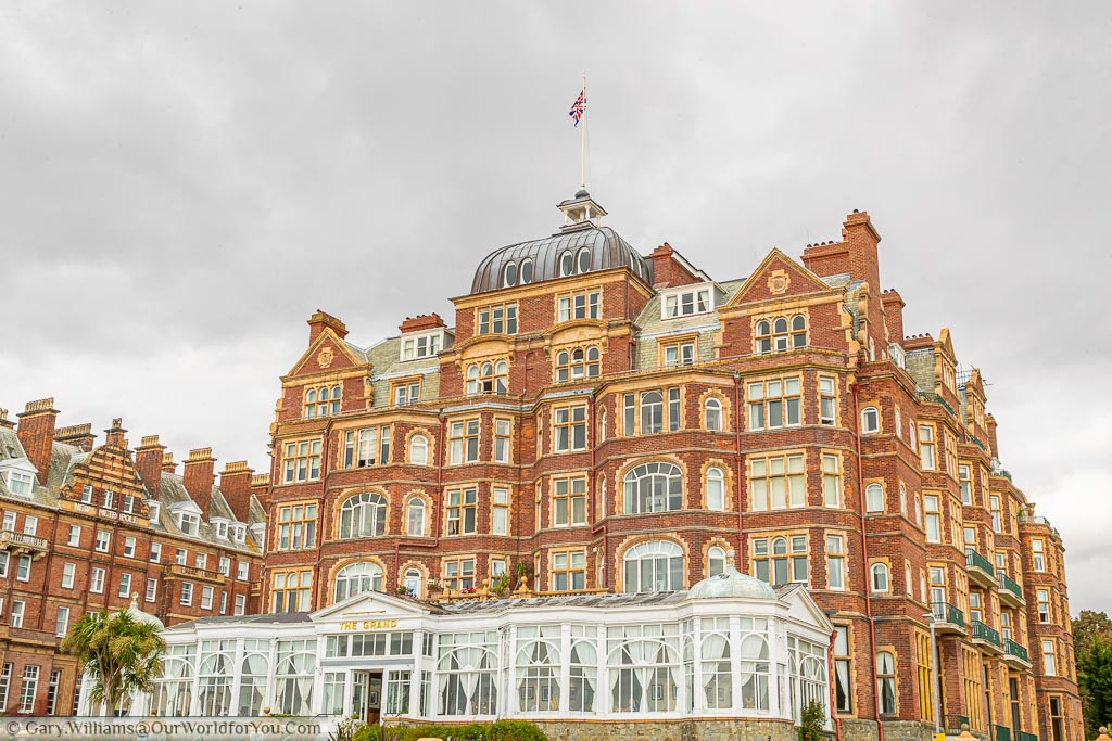 The Grand Hotel, a large red-brick hotel, built in the late Victorian period.