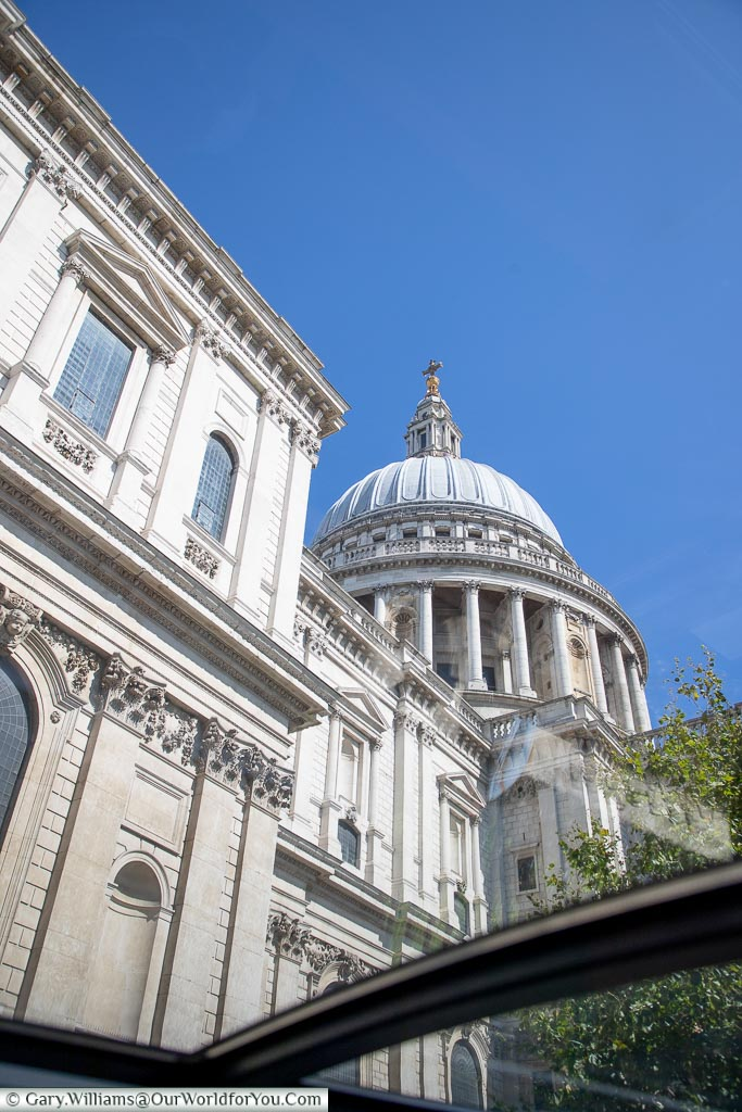 Looking up at the dome of St Paul's cathedral through Bustonome's glass roof.