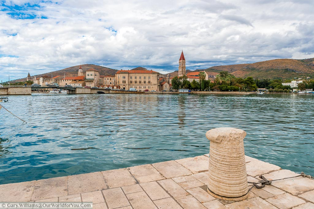 The view of Trogir from the island of Čiovo across the Adriatic sea.    The town shows clear Venetian influences.