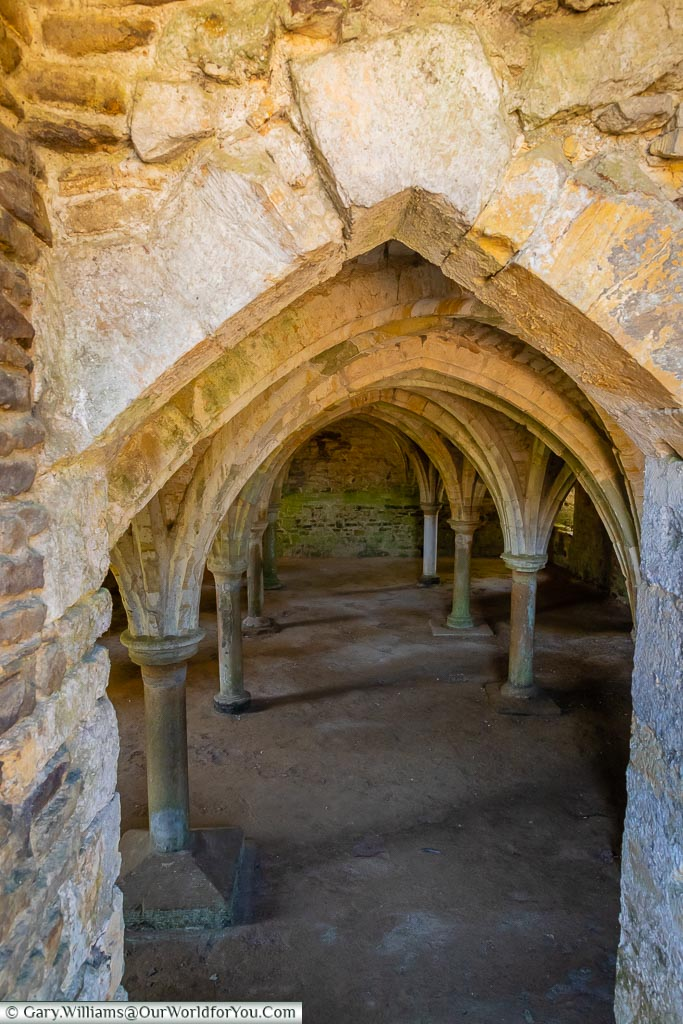 Looking down into the space under the dormitory with its low vaulted ceiling.