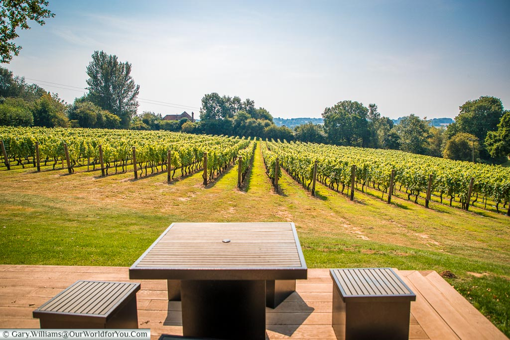 A table and stools on the decking outside the Wine Sanctuary overlooking the Bacchus vines.