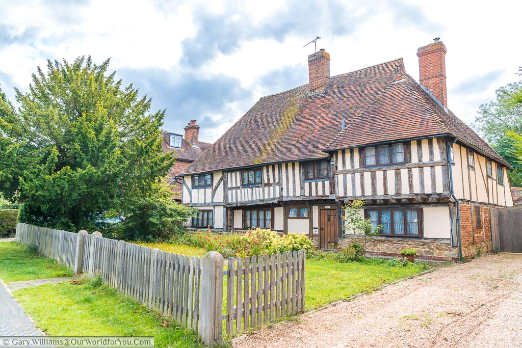 The Chequers, a half timbered building built in the late Middle Ages just prior to the Tudor Period.