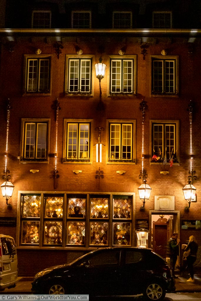 The outside of Am Knippat night.  Dating from 1698, it is Aachen's oldest inn and serves traditional local food.  A family-run business that's a great place to eat.