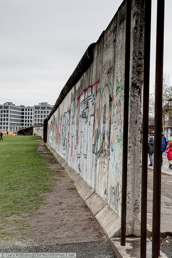 A section of the heavily graffitied Berlin Wall.