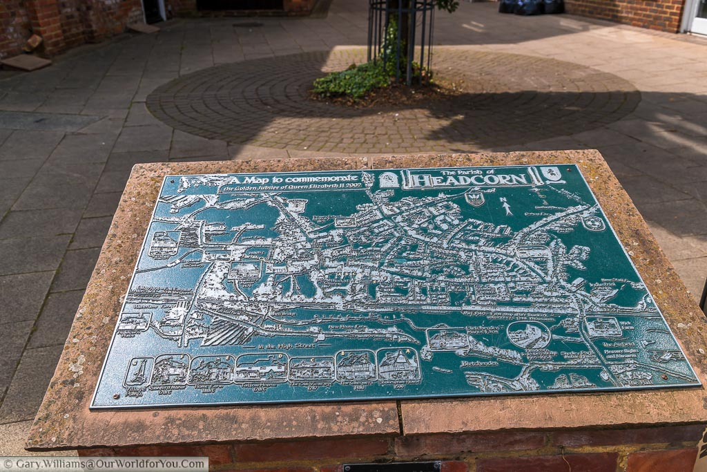 The tactile village map of Headcorn highlighting all the key features and points of interest , created to commemorate The Golden Jubilee of Queen Elizabeth II in 2002