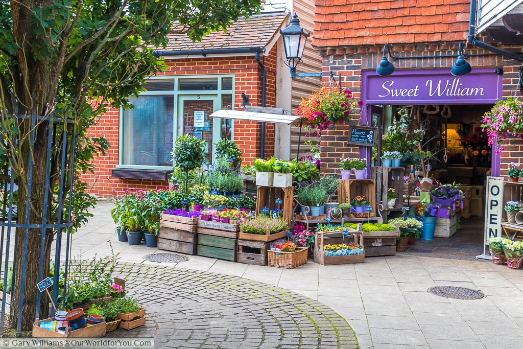 Pretty Little florists, named Sweet William, in the village with its wares on display outside in the courtyard.